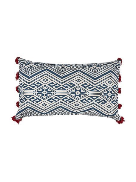 Gemusterte Kissenhülle Cerys in Blau/Weiß mit Quasten, 100% Baumwolle, Blau, Rot, Creme, 30 x 50 cm