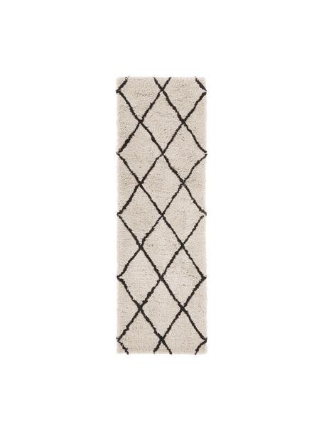 Passatoia tessuta a mano Naima, Retro: 100% cotone, Beige, nero, Larg. 80 x Lung. 250 cm