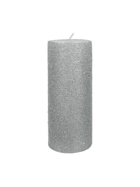 Stumpenkerze Flair, Wachs, Silberfarben, Ø 7 x H 18 cm