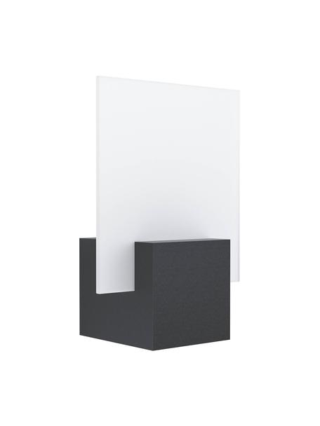 Aplique LED para exterior Adamello, Pantalla: vidrio, satinado, Negro, blanco, An 20 x F 28 cm