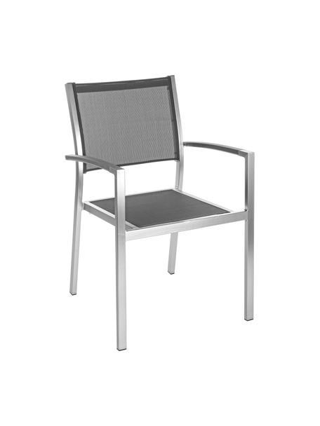Krzesło ogrodowe z podłokietnikami do układania w stos Inez, Stelaż: aluminium, satynowe wykoń, Srebrny, szary, S 54 x G 57 cm