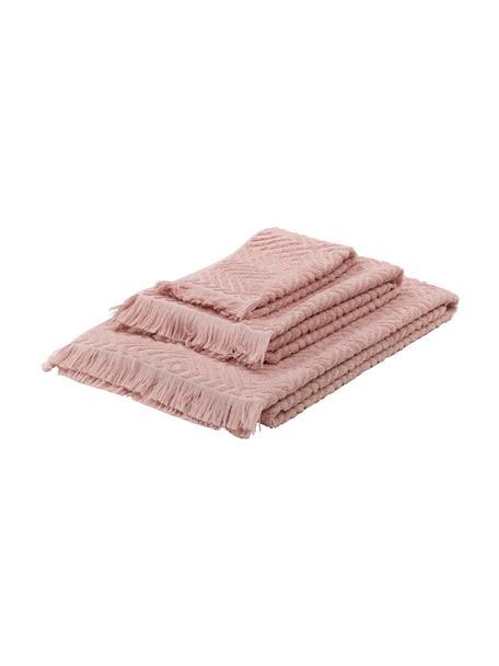Handtuch-Set Jacqui mit Hoch-Tief-Muster, 3-tlg., Rosa, Set mit verschiedenen Grössen