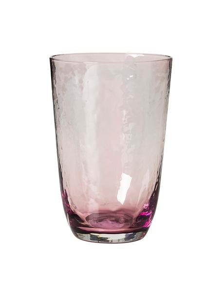 Mundgeblasene Wassergläser Hammered mit unebener Oberfläche, 4er-Set, Glas, mundgeblasen, Lila, transparent, Ø 9 x H 14 cm