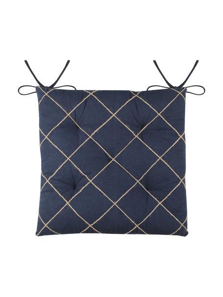 Sitzauflage Concarneau mit erhabenem Muster, 100% Baumwolle, Dunkelblau, 40 x 40 cm