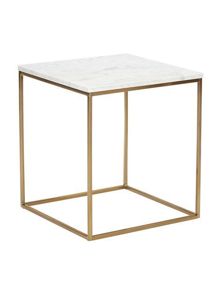 Marmeren bijzettafel Alys, Tafelblad: marmer, Frame: gepoedercoat metaal, Tafelblad: wit-grijs marmer. Frame: goudkleurig, glanzend, 45 x 50 cm