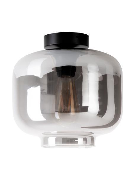 Kleine plafondlamp Vaso van gespiegeld glas, Lampenkap: glas, Baldakijn: gecoat metaal, Chroomkleurig, gespiegeld, zwart, Ø 25 x H 21 cm