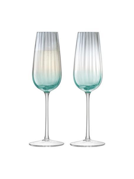 Handgemaakte champagneglazen Dusk met kleurverloop, 2-delig, Glas, Groen, grijs, Ø 6 x H 23 cm
