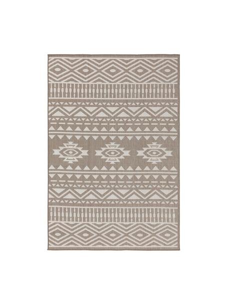 Alfombra de interior/exterior Nillo, estilo étnico, 100%polietileno, Gris pardo, crema, An 120 x L 170 cm (Tamaño S)
