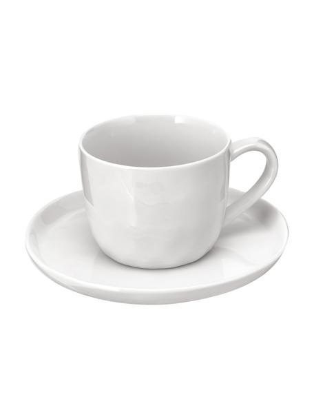 Filiżanka ze spodkiem Porcelino, 6 szt., Porcelana o celowo nierównym kształcie, Biały, Ø 15 x W 8 cm