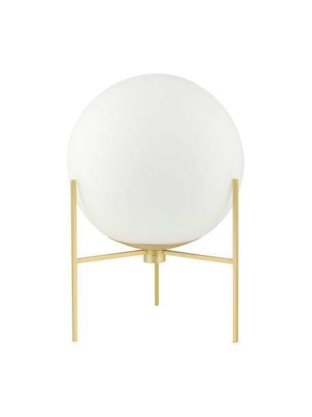 Lámpara de mesa de vidrio opalino Alton, Pantalla: vidrio opalino, Latón, blanco, Ø 20 x Al 29 cm