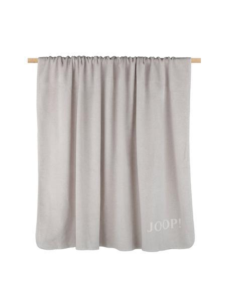 Manta doble cara de tela polar Uni, 58%algodón, 35%poliacrílico, 7%poliéster, Gris, crudo, An 150 x L 200 cm