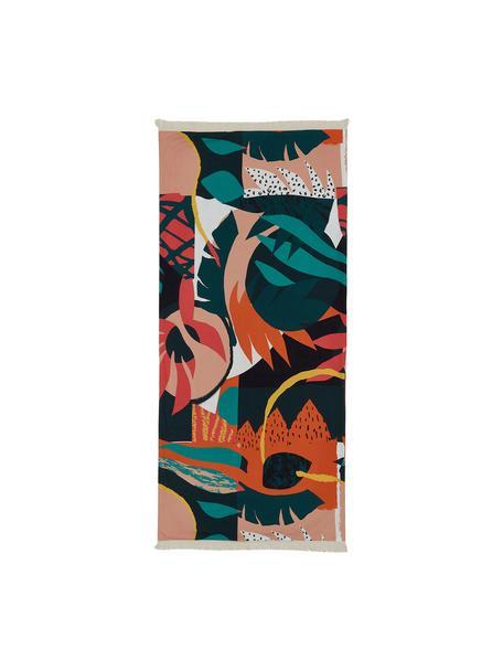 Strandtuch Darwin mit abstraktem Print, Rot, Mehrfarbig, 86 x 190 cm