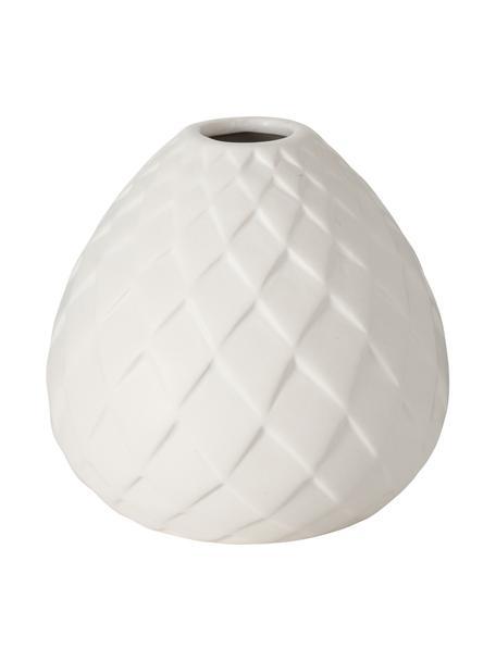 Vaso in gres fatto a mano Fabyo, Terracotta, Bianco, Ø 12 x Alt. 12 cm