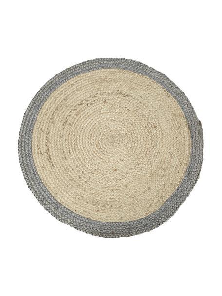 Alfombra redonda artesanal de yute Shanta, Parte superior: yute, Reverso: yute, Beige, gris, Ø 100 cm (Tamaño XS)