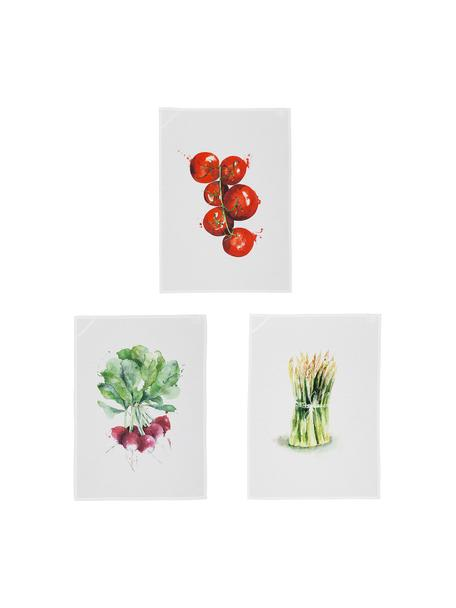 Set de paños de cocina de algodón Marchè, 3pzas., Blanco, verde, rojo, An 50 x L 70 cm