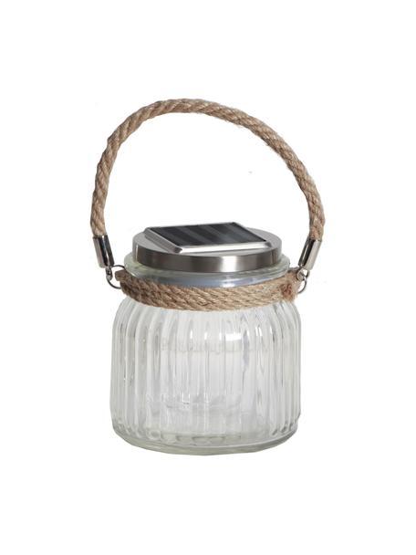 Solar Außentischlampe Glass Jar, Lampenschirm: Glas, Griff: Sisal, Transparent, 11 x 12 cm