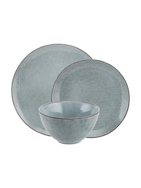 Vajilla artesanal Nordic Sea, 4comensales (12pzas.), Gres, Tonos grises y azules, Set de diferentes tamaños