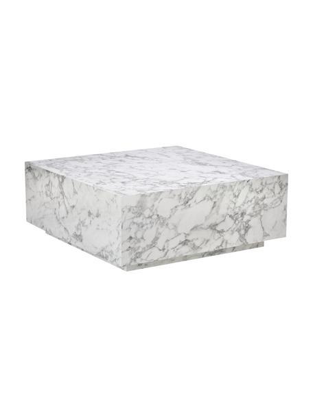 Schwebender Couchtisch Lesley in Marmor-Optik, Mitteldichte Holzfaserplatte (MDF), mit Melaminfolie überzogen, Weiß, marmoriert, 90 x 35 cm