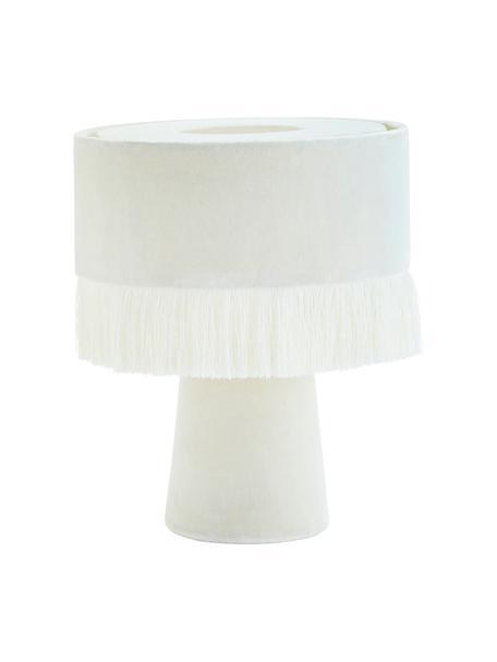 Lámpara de mesa de terciopelo Violina, Lámpara: terciopelo de algodón, Flecos: poliéster, Cable: plástico, Blanco roto, Ø 25 x Al 31 cm