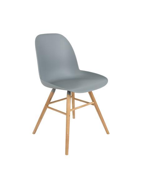 Kunststoffstuhl Albert Kuip mit Holzbeinen, Sitzfläche: 100% Polypropylen, Füße: Eschenholz, Grau-Blau, B 49 x T 55 cm
