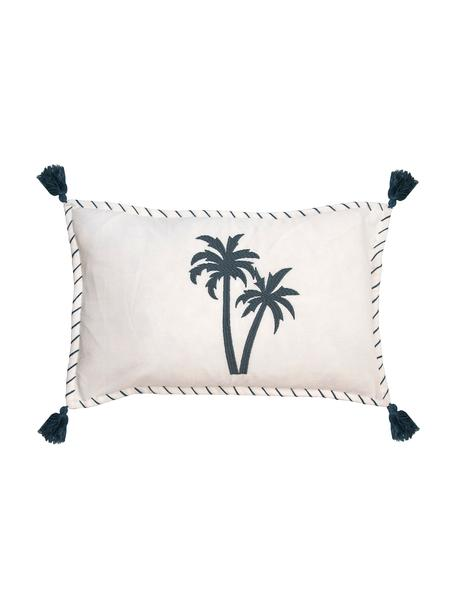 Federa arredo con ricamo e nappe Bali, 100% cotone, Bianco, blu navy, Larg. 30 x Alt. 50 cm