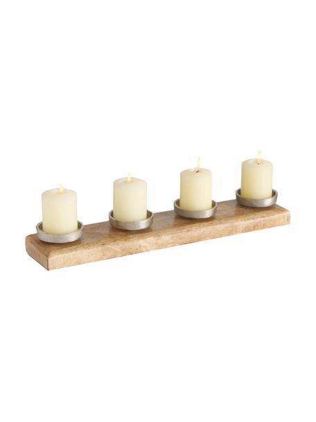 Kerzenhalter Stiegler, Mangoholz, Aluminium, vernickelt, Mangoholz, Nickel, 50 x 6 cm