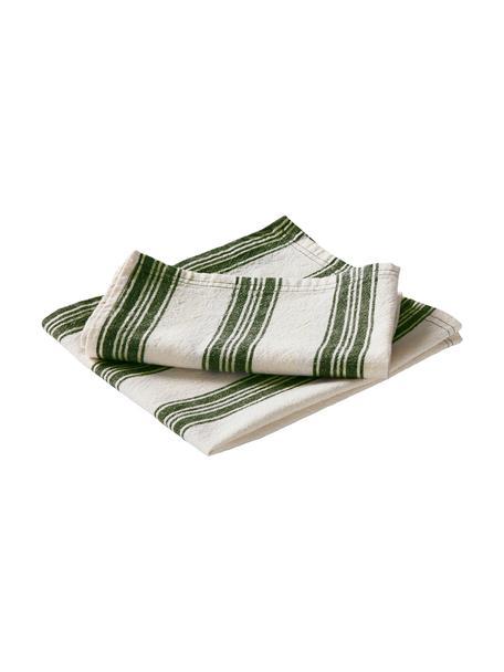 Servilletas de lino/algodón Abigail, 2uds., 80%algodón 20%lino, Blanco crudo, verde, An 45 x L 45 cm