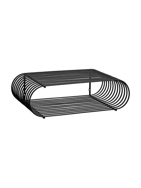 Kleines Wandregal Curve aus Metall, Metall, pulverbeschichtet, Schwarz, 40 x 12 cm
