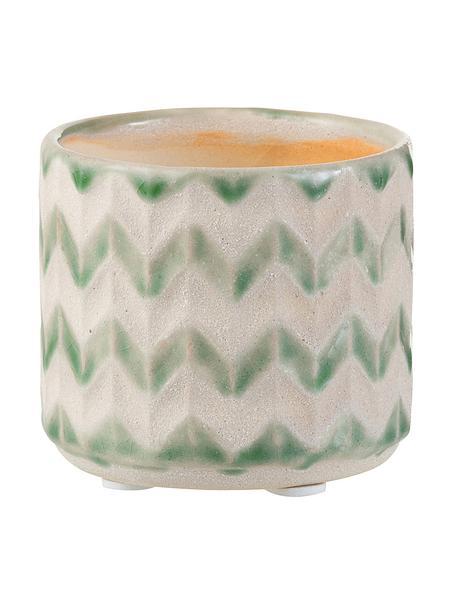 Pflanzentopf Zigzag, Keramik, Grün, Hellbeige, Ø 8 x H 7 cm