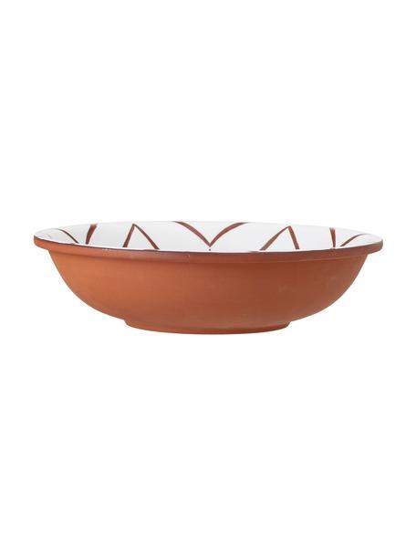 Schüssel Bean aus Terrakotta Ø 30 cm, Innen gemustert/Außen Terrakotta, Terrakotta, beschichtet, Weiß, Terrakotta, Ø 31 x H 8 cm