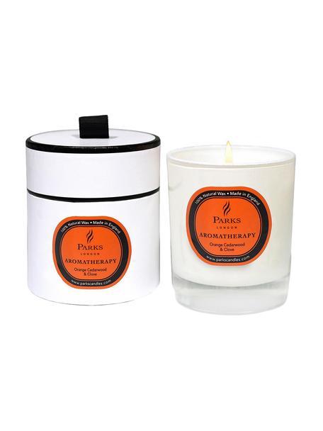 Geurkaars Aromatherapy (sinaasappel, cederhout & anjer), Houder: glas, Transparant, wit, oranje, Ø 8 x H 9 cm