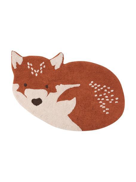Vloerkleed Little Wolf, Katoen, Rood, beige, 110 x 70 cm