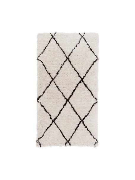 Flauschiger Hochflor-Teppich Naima, handgetuftet, Flor: 100% Polyester, Beige, Schwarz, B 80 x L 150 cm (Grösse XS)