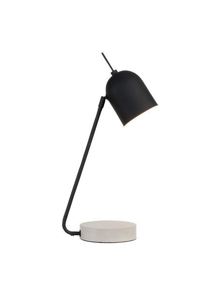 Lampada da tavolo con base in cemento Madrid, Paralume: metallo rivestito, Base della lampada: cemento, Nero, cemento, Larg. 22 x Alt. 57 cm