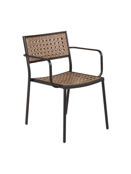 Krzesło ogrodowe Paola, Stelaż: metal malowany proszkowo, Czarny, beżowy, S 56 x G 59 cm