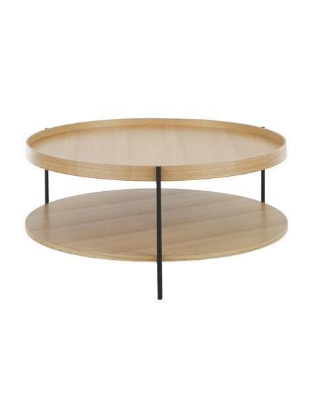 Tavolino da salotto con piano d'appoggio Renee, Ripiani: pannello di fibra a media, Struttura: metallo verniciato a polv, Ripiani: legno di quercia Struttura: nero opaco, Ø 90 x Alt. 39 cm