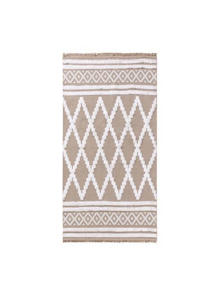 Alfombra lavable de algodón texturizada con flecos Oslo Karo, 100%algodón, Gris, blanco cremoso, An 75 x L 150 cm (Tamaño XS)