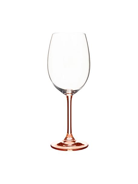 Bicchiere vino rosso con gambo rosa Rose 4 pz, Vetro di cristallo, Rosa trasparente, 450 ml