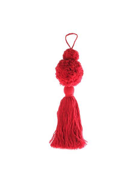 Baumanhänger Pompon, 2 Stück, Baumwolle, Rot, Ø 8 x H 37 cm