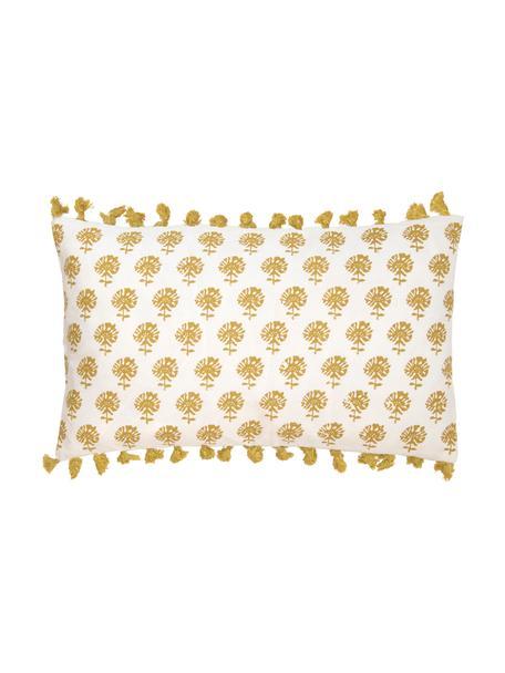 Kissenhülle Poesy mit Quasten, 100% Baumwolle, Weiss, Gelb, 30 x 50 cm