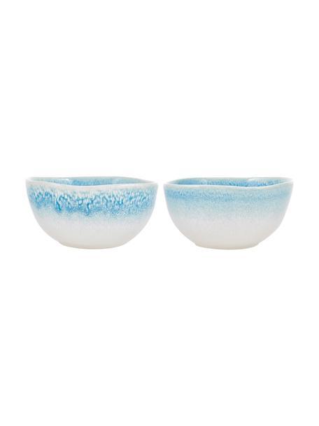 Ręcznie wykonana miseczka Amalia, 2 szt., Ceramika, Jasny niebieski, kremowy, Ø 14 x W 7 cm