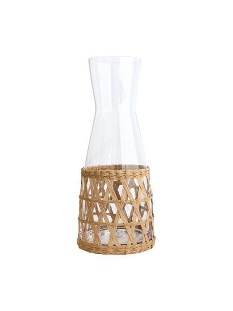Caraffa fatta a mano con vimini decorativo Wicker, 1 L, Decorazione: vimini, Trasparente, marrone chiaro, 1 L