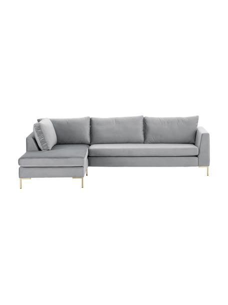Sofa narożna z aksamitu z metalowymi nogami Luna, Tapicerka: aksamit (100% poliester) , Nogi: metal galwanizowany, Aksamit jasny szary, złoty, S 280 x G 184 cm