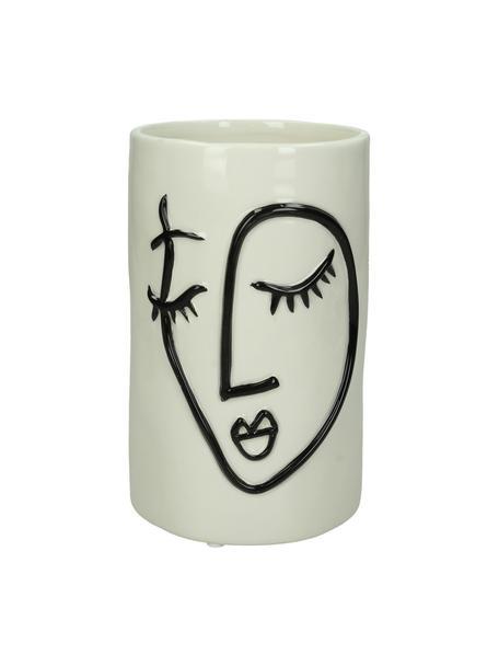 Kleine plantenpot Face van keramiek, Keramiek, Gebroken wit, zwart, Ø 11 x H 18 cm