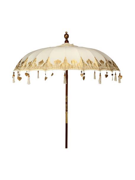 Parasol ogrodowy Oriental Lounge, Stelaż: drewno owocowe z metalowy, Beżowy, odcienie złotego, ciemny brązowy, Ø 180 x W 225 cm