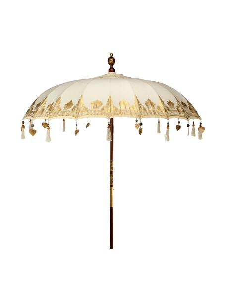 Parasol Oriental Lounge, Frame: fruithout met metalen det, Beige, goudkleurig, donkerbruin, Ø 180 x H 225 cm
