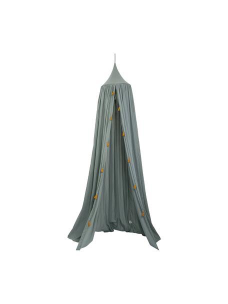 Betthimmel Canopy aus Bio-Baumwolle, 100% Biobaumwolle, GOTS-zertifiziert, Graugrün, Goldfarben, Ø 40 x H 200 cm