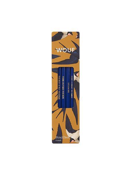 Potlodenset Swallow, 6-delig, Hout, Geel, blauw, beige, 18 x 5 cm