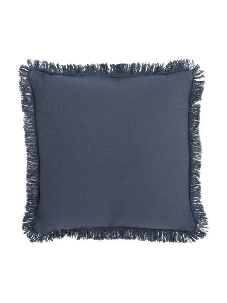 Kissen Prague in Blau mit Fransenabschluss, mit Inlett, Vorderseite: 100% Baumwolle, grob gewe, Rückseite: 100% Baumwolle, Blau, 40 x 40 cm