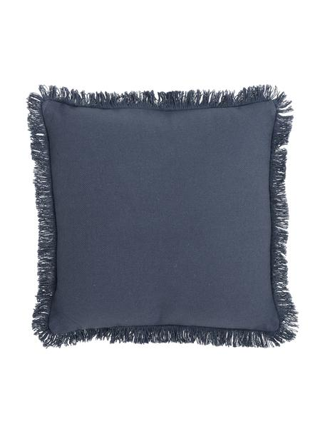 Cuscino con frange e imbottitura Prague, Retro: cotone, Blu, Larg. 40 x Lung. 40 cm